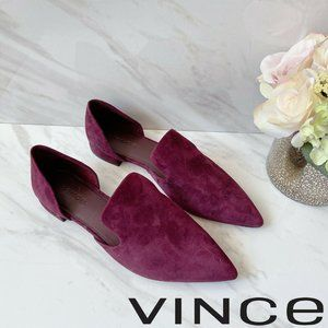 🆕Vince Pointed Toe d'Orsay Flat  Loafer Red Suede